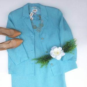Talbots Irish linen dress suit Sky Blue